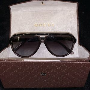 Authentic Gucci studded aviator-style sunglasses